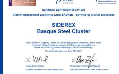 Siderex, distinguida con la certificación europea Bronce Label