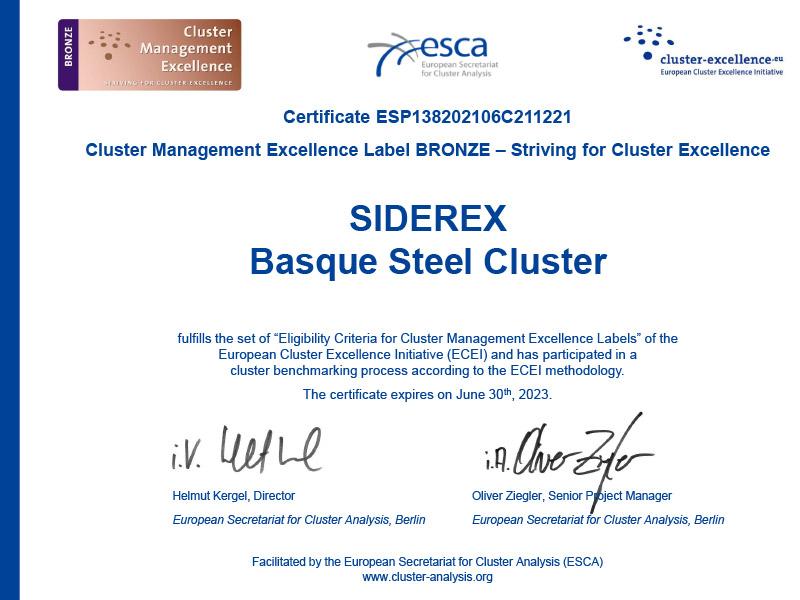 """SIDEREX ha sido distinguida con la certificación europea """"Bronce Label"""" (""""Esfuerzo por la excelencia del clúster""""), concedida por la European Cluster Excellence Initiative (ECEI)."""